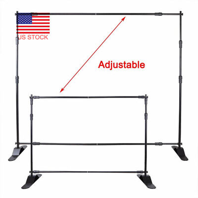 8'x8' Step and Repeat Backdrop Display Telescopic Banner Stand Holder Trade Show