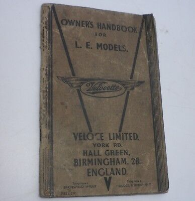 ORIGINAL OWNER'S HANDBOOK for VELOCETTE  L.E.MODELS. DATED 1950.