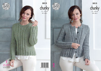 75144251f King Cole Ladies Chunky Knitting Pattern Womens Cabled Cardigan   Sweater  5013