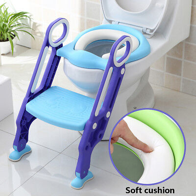 Kids Toilet Potty Soft Padded Seat Step Up Training Stool Chair Toddler Ladder