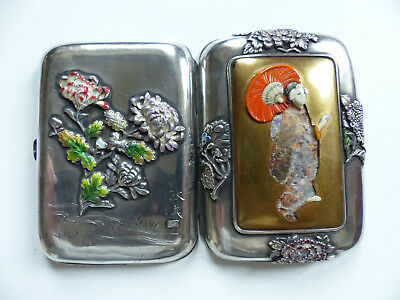 Rare Antique Chinese Silver Enamel Cigarette Case Box Artist Signed & Marked