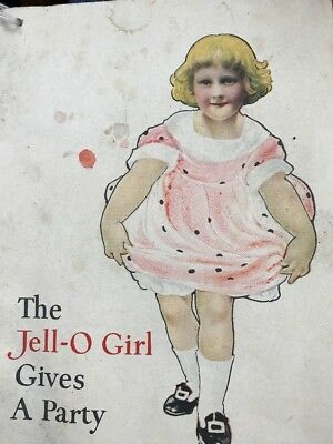 """Vintage Jello Booklet c.1910 - """"The Jell-o Girl Gives A Party"""" - 16 Color Pages"""