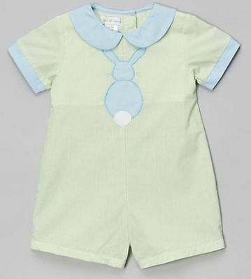 Petit Pomme - Lime & Blue Bunny Collared Romper - Infant