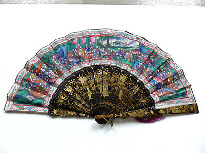 BEAUTIFUL LARGE ANTIQUE 19th. CENTURY CHINESE CANTONESE LAQUER 1000 FIGURES FAN