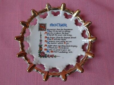 """Vintage 3.5"""" collectible scalloped porcelain plate MOTHER & poem Made in Japan"""