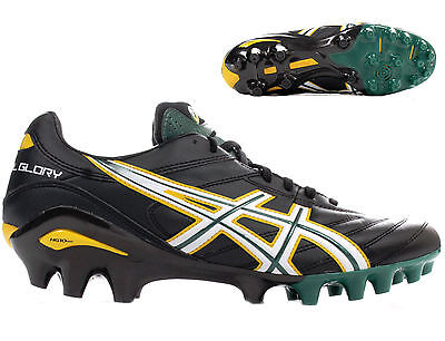 Asics Lethal Glory Rugby Boots Moulded Studs 4 hard ground Blk/Wht/Grn sizes 7