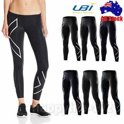 Womens Compression Tights Lightweight Base Layer Long Pants S-XL Running Sports