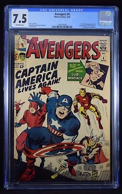 Avengers #4 CGC 7.5 -- First Silver Age Captain America!