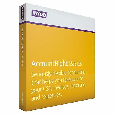 MYOB AccountRight Basics Boxed CD NO SUBSCRIPTION FEES Accounting software - GST