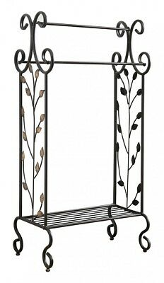 Vintage Bathroom Towel Rack Free Standing Metal Black Blankets Holder Bedroom