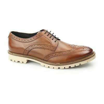 BASE LONDON RAID Mens Washed Leather Wingtip Lace Up Derby