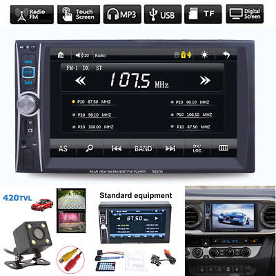 "6.6"" 2DIN Touch Screen Car MP5 MP3 Player Bluetooth USB FM Radio Stereo + Camera"