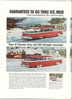 Firestone Tire Guaranteed Go Thru Ice Mud Snow We Pay Tow 2 page Vintage Ad 1959