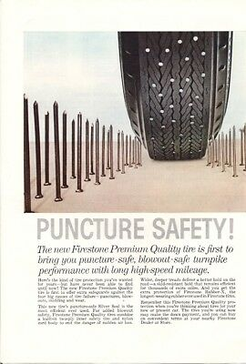 Firestone Premium Quality Tire Puncture Safety Blowout Safe Vintage Ad 1959