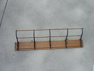 Antique  Oak And Iron Coat And Hat Rack