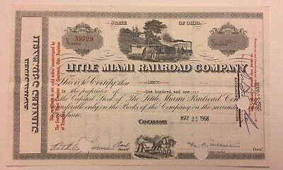 1966 Little Miami Railroad Company Stock Certificate Multiple Vignettes Ohio