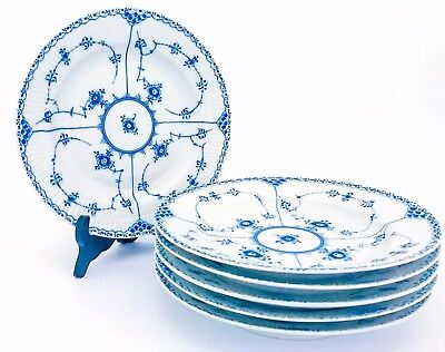 6 Dinner Plates #571 - Blue Fluted - Royal Copenhagen - Half Lace - 1st Quality