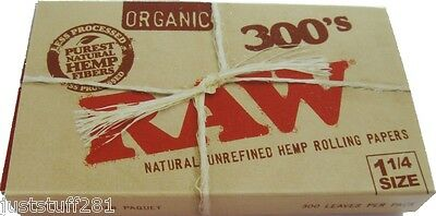 "Raw 300's Organic Hemp Rolling Papers 1.25""/ 300 Papers!! **Free Shipping**"