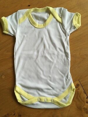 Baby Vest 6-12 Months White Yellow Vest Plain Baby Clothes Neutral Brand new