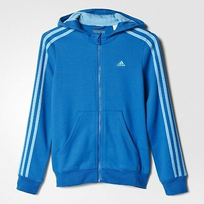 adidas girls blue ess 3 stripe zip up slim fit hoodie. Track top. 5-6 Years.