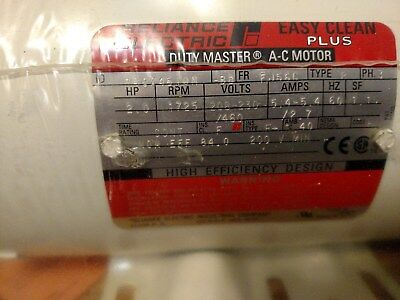 Reliance Electric Easy Clean plus Motor,P56X4510N, 3 phase, 2 HP, 1725 RPM