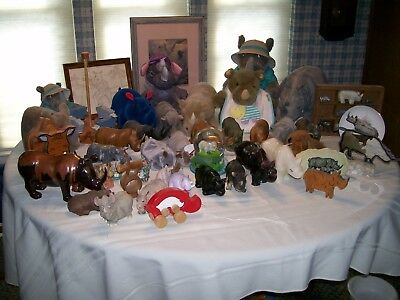 Rhino Collection, all types. Wood, glass, stuffed, miniatures, pictures.