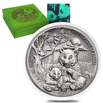 2017 8 oz Silver Panda Fiji Coin Fine Antiqued High Relief Cert of Authenticity