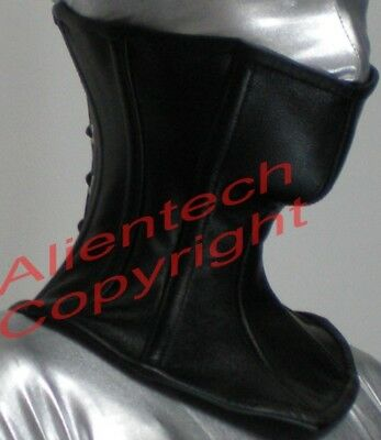 161332c78e BLACK REAL LEATHER Over Mouth Neck Corset Posture Collar -  55.00 ...
