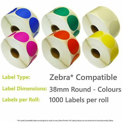 Zebra Compatible Direct Thermal Labels - 38mm Round in 6 Colours - 1000 per roll