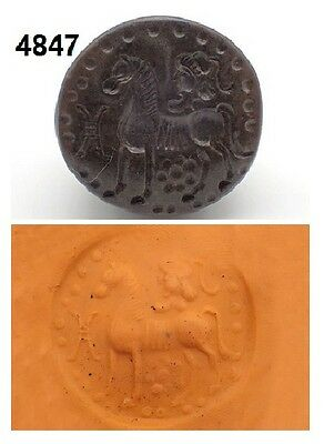 Ancient Roman On Horse Carving Intaglio Brown Agate Dome Stamp Bead RARE!! #4847