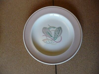 5 x 1930's Vintage Susie Cooper side plates in Grey Leaf pattern with pink band.