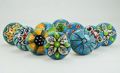 Sky Blue Ceramic Knobs Drawer Pulls Hand Painted Cabinet Knob Decor Color Body