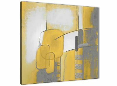 Mustard Yellow Grey Painting Bathroom Canvas Wall Art - Abstract 1s419s - 49cm