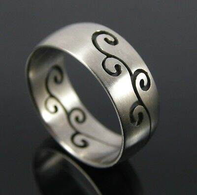 Stainless Steel Cut Out Abstract Swirl Men's Or Woman's Ring Size Uk S. Us 9.