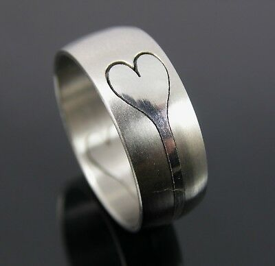 Stainless Steel Cut Out Heart Design Men's Or Woman's Ring Size Uk S. Us 9.