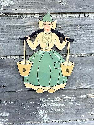 Antique 1930's Wooden Painted Dutch Lady carrying Pails Kitchen Hooks Towels/cup