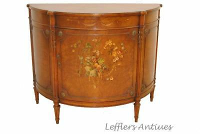 French Satinwood Hand Painted Adam Style Demilune Chest By Irwin Furniture