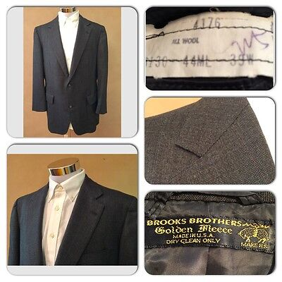 Exc Cond Brooks Brothers Golden Fleece Mens 44R Wool Gray/blue Blazer Jacket