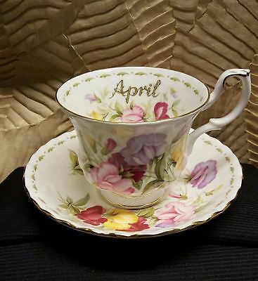 1970 Royal Albert England Sweet Pea Flower Of The Month April Cup And Saucer