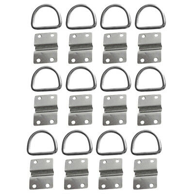 12x Steel Boat Trailer Lashing Strap D Ring Tie Down Rope Cleat Anchor Point