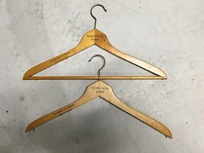 Lot of 2 vintage Wood Wooden clothes or coat hanger RUSSELL HOTEL DUBLIN iteland