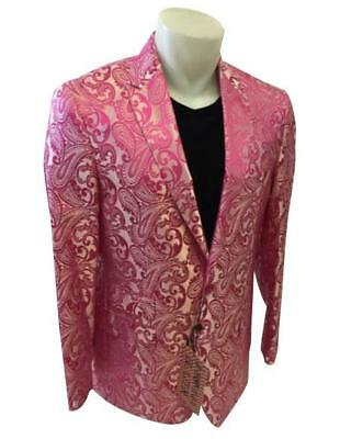 Men's Paisley Jacket Blazer Suit Prom Entertainer Performer Musician Fuchsia 4XL