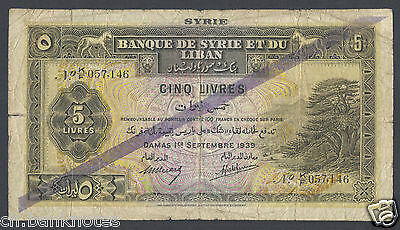 Syria 5 Lira 1-9-1939  P41b Issued note Fine