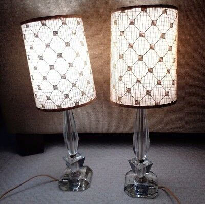 Vintage Pair Of Stacked Glass Ice Cube Mid Century Modern Lamps