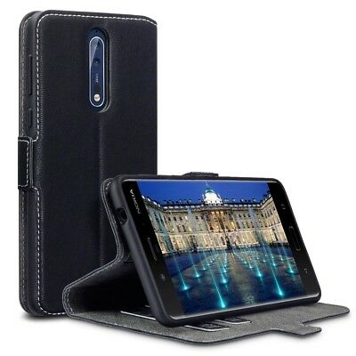 Ultra Thin PU Leather Wallet Case with Credit Card Slots in Black for Nokia 8