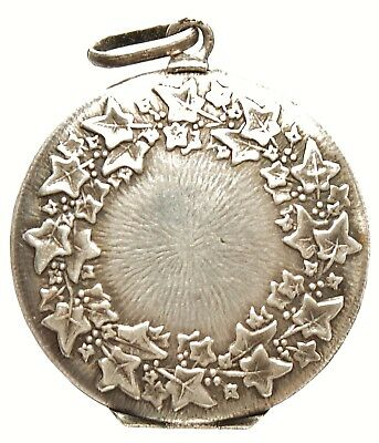 Antique Solid Silver Art Nouveau  Open Portraits Locket Virginia Creeper