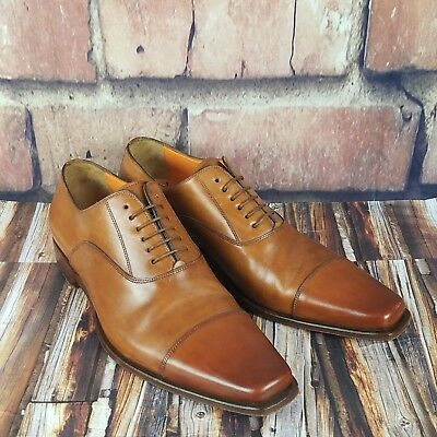 SANTONI Fatte A Mano Italian Handmade Brown Cap Toe Oxford Dress Shoes US 7.5