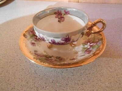 Vintage Napco China Footed Teacup with Saucer. Hand Painted SD141