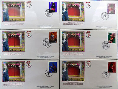 PUNCH & JUDY PUPPETEERS UK 2001 FDC COLLECTION of 6 STAMPS/CANCELLATIONS ~ EXC.