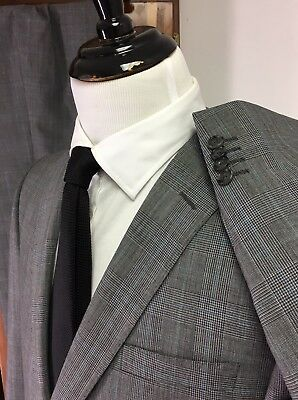 $1,595 Z Zegna Gray/Teal Prince Of Wales Plaid Suit -Techno Wool!! *2017* 44R
